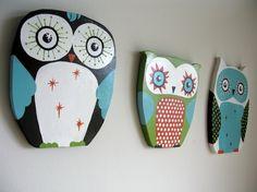 Nite Nite Wooden Owls-Set of 3-Orange/Blue/Green/Brown