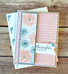 handmade card with matching envelope ... color challenge ... luv the soft pink and blue ... embossing folder texture on main panel ....
