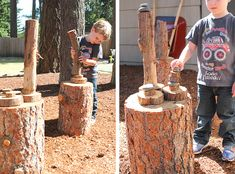 Natural play spaces and log blocks (natural outdoor playground tree stumps) Kids Play Spaces, Outdoor Play Spaces, Natural Outdoor Playground, Outdoor Fun, Natural Play Spaces, Backyard Play, Outdoor Classroom, Natural Building, Outdoor Learning