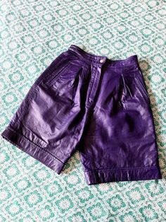 Leather Shorts, Vintage Leather, Overalls, Casual Shorts, My Etsy Shop, Purple, Check, Shopping, Color