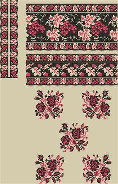 Сорочка женская. Схема вышивки крестиком.