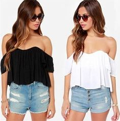 2015 New Hot Off The Shoulder Ruffled Low Back Peasant Cap Sleeve Flowy Blouse Summer Outfits, Casual Outfits, Women's Casual, Chiffon, Moda Casual, Short Sleeve Blouse, Pretty Outfits, Off The Shoulder, Sexy