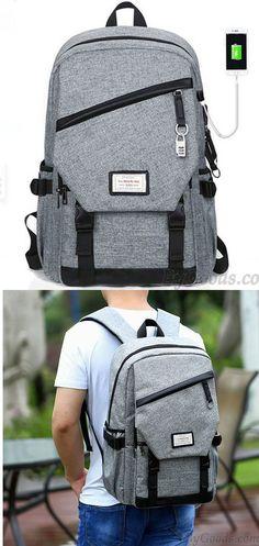 0ed1e46f9b Sac à dos imperméable gris de voyage de sac d'école de toile de voyage