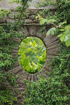 Stone wall portal at Hestercombe Gardens, Somerset, England.