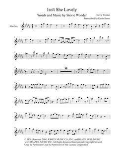 Isn't She Lovely - Alto Sax (Harmonica Solo) By Stevie Wonder Alto Sax Sheet Music, Saxophone Music, Somewhere Only We Know, Wedding Playlist, Digital Sheet Music, Isnt She Lovely, Writing About Yourself, Busse, Stevie Wonder