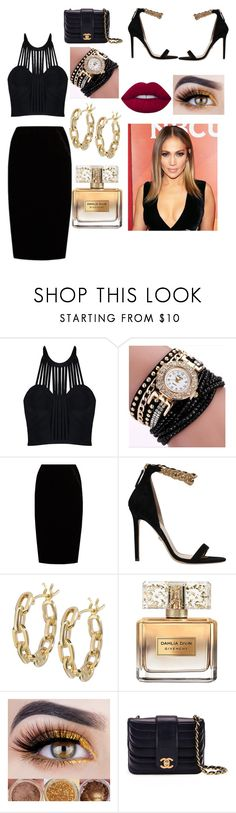 """""""Jennifer Lopez @ VMAS"""" by jadenicole2 ❤ liked on Polyvore featuring Jupe By Jackie, Versace, TILDA BIEHN, Givenchy, Chanel, Lime Crime and Jennifer Lopez"""