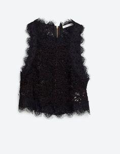 Crop top Zara noire en dentelle sans manche