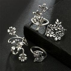 Efulgenz Boho Butterfly Vintage Gypsy Indian Oxidized Gold Silver Statement Big Size Adjustable Cocktail Ring Jewelry