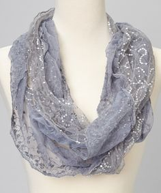 Gray Sequin Lace Scarf | zulily