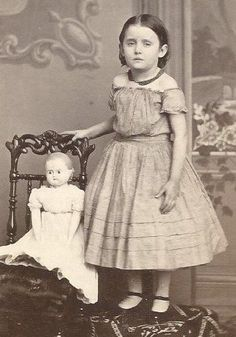 Civil War Era Little Girl and Doll c1866 Id Emma Palmer Green