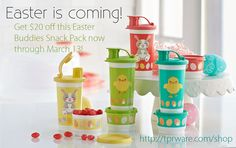 Easter is coming! Get $20 off this adorable Easter Buddies Snack Pack now through March 13! Normally $44, now get it for $24!! Call me or purchase online http://tprware.com/shop #tupperware #easter #tumblers #snacks #sale
