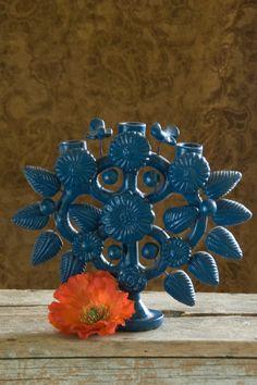 Handmade Mexican candelabra candle holder with by roseleinrarities,