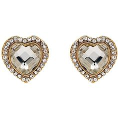 Two sparkling heart-shaped pair of earrings from jewellery makers Clare Jordan. A heart-shaped faceted piece of glass is surrounded by a band of gold-plated al…