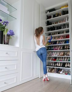 Building my dream closet has always been in my head, especially since you all know how much I love to collect beautiful things. Closet Shoe Storage, Shoe Storage Cabinet, Shoe Closet, Closet Organization, Organization Ideas, Custom Closet Design, Bedroom Closet Design, Closet Designs, Dressing Room Closet