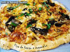 Ponto de Rebuçado Receitas: Piza de frango e cogumelos
