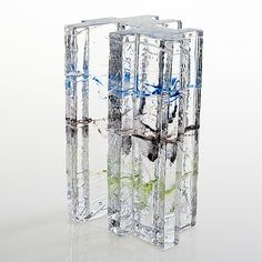 """HELENA TYNELL - Glass sculpture """"Metsä"""" (Forest) for Riihimäen Lasi Oy, Finland. [h. 19,5 cm] Glass Design, Design Art, Stained Glass Windows, Art And Architecture, Modern Contemporary, Art For Kids, Glass Art, Artwork, Painting"""