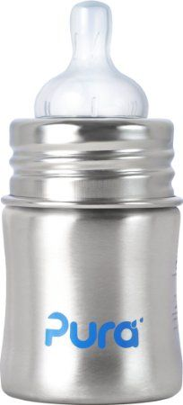 Pura Kiki Stainless Infant Bottle Stainless Steel with Natural Vent Nipple, 5 Ounce, Natural, 0-3 Months+, can use with other nipples, not sure about pump compatibility - $13.99