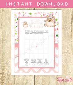 New to TppCardS on Etsy: Instant Download Little Lamb Theme Baby Shower Chevron BINGO Game Cards Printable Party Sheets for Baby Girl Pink Brown Zigzag Sheep (2.00 EUR)