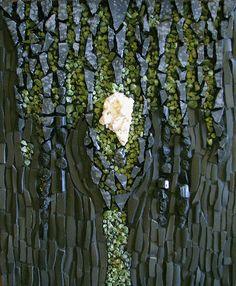 Mosaic (snowflake obsidian, black tourmaline, peridot, heulandite, cut china)