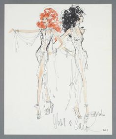 """A felt pen on paper sketch for Carol Burnett and Cher, inscribed """"Carol & Cher, Bob Mackie.""""  Image, 16 1/2 by 13 1/2 inches; 30 by 27 inches, framed  PROVENANCE Lot 499, """"Property from the Collection of Cher,"""" Sotheby's with Julien's, Beverly Hills, California, October 3 & 4, 2006."""