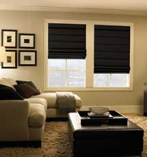 Flat style Classic Room Darkening in Black with Cordless lift system and Fabric Valance