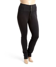 Look what I found on #zulily! Black Four-Button High-Waist Ponte Pants - Plus #zulilyfinds