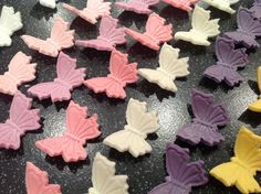 Edible icing sugar in flight butterflies topper.  For cupcakes,  birthday,wedding cake decorations.  Approx 3 cm across x 12 of one colour. by MTBCakeDecorations on Etsy https://www.etsy.com/listing/199359002/edible-icing-sugar-in-flight-butterflies