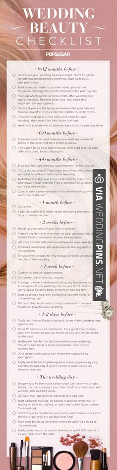 Really cool must have beauty checklist for brides for the big day!