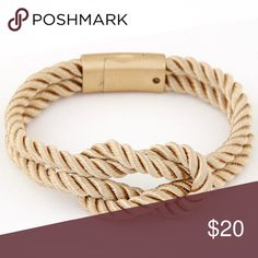 Rope Bracelet 1 rope knot bracelets. Color: camel with white Jewelry Bracelets