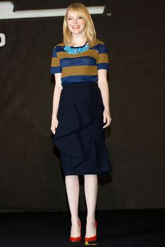 In a Burberry Prorsum top and skirt, with Brian Atwood pumps and Jennifer Meyer earrings, also in Korea, the actress looks put-together but unfussy.