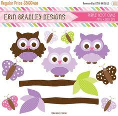 50% OFF SALE Purple Owl Clipart Clip Art von ErinBradleyDesigns