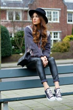 Hipster style. Really great for school. Definitely want to duplicate this look. The converse with the fedora are so cute | Negin Mirsalehi