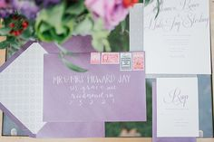 purple invitation |
