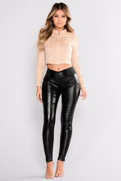 Jackets for Women – Find Affordable Jackets Online – translation missing: en.page Cameron Suede Jacket – Nude Faux Leather Leggings, Suede Jacket, Leather Pants, Leather Skirts, Black Leather, Gothic Leggings, Black Leggings, Leggings Sale, Cheap Leggings