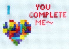 "I would change it to ""I""  ""You Complete Me"" Tetris Cross-Stitch from Sprite Stitch user, DWgrrl #Valentine"