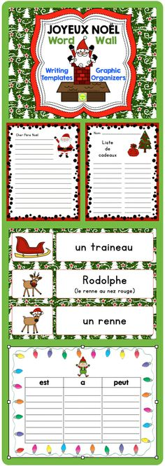 French Christmas (Noël) word wall, writing templates and graphic organizers Christmas Poems, French Christmas, Noel Christmas, French Classroom, Classroom Fun, Literacy Games, Writing Activities, French Teacher, Teaching French