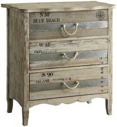 Beach Blue 3 Drawer Dresser with Rope Handles. See all Furniture at Caron's Beach House: http://www.caronsbeachhouse.com/furniture/