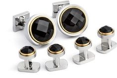 Ike Behar Faceted Onyx Set In Gold Plated Bezel Cufflink/stud Set.