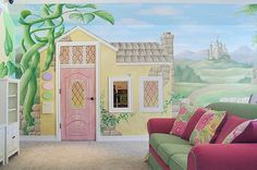 Our last house in Houston had a walk out attic space in Emma's bedroom. I wanted to drywall it out and paint a mural like this to make an awesome indoor playhouse. I'm hoping our next house will provide a space to do something special for both girls like this. :-)