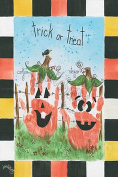 Jack-o-Lantern Hand Prints on Canvas - Doodlebugs by Carla Lucas - Easy Cheap Diy Crafts Theme Halloween, Halloween Crafts For Kids, Halloween Activities, Fall Halloween, Holiday Crafts, Daycare Crafts, Baby Crafts, Preschool Crafts, Toddler Art