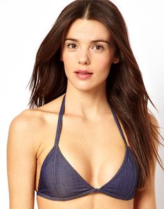 ASOS | ASOS Denim Triangle Bikini Top at ASOS