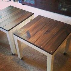 DIY: Een IKEA tafel aangepast met houten bladen. Simpel maar prachtige toevoeging, kies jouw kleur hout uit en personaliseer jouw tafel.