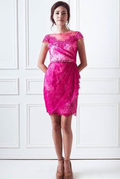 Chrissy Dress in Fuschia (also available in electric blue and nude) || The beautiful Chrissy dress features flattering draped lace and embellished neckline. Glamorously stunning, the dress will ensure you sparkle in parties and weddings.