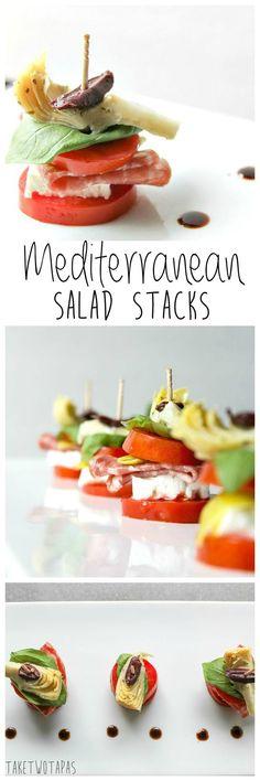 These individual salad stacks can be filled with any salad ingredients!  These are filled with the favorites from Caprese, Greek, and Antipasto salads. Mediterranean Salad Stacks | Take Two Tapas