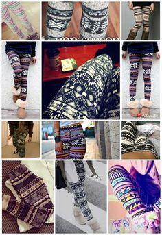 Pattern Leggings + Oversized Sweaters + Scarves = LOVE! <3