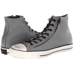 Converse Chuck Taylor All Star Double Zip Leather Hi Shoes, Gray ($68) ❤ liked on Polyvore featuring shoes, sneakers, grey, leather lace up sneakers, grey leather shoes, zipper sneakers, leather shoes and grey sneakers