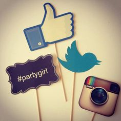 You got to love these social media photo props.  Like Us thumb  Instagram camera  Twitter bird  Sign #partygirl  Sold toghether (all 4)  Glued in a