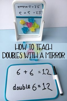 Hands-on Math ~ Teaching Doubling : Simple to set up Maths Centre activity for home or the classroom to teach doubling ideal for use with Foundation Stage or Kindergarten. Maths Classroom Displays, Maths Display, Math Classroom, Kindergarten Math, Teaching Math, Future Classroom, Math Activities For Kids, Math Games, Addition Activities
