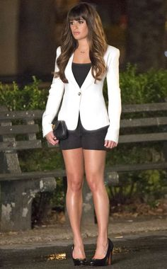 Lea Michele's Rachel Wears a White Jacket and Black Shorts While Filming Glee Season 4 in New York City on August 12, 2012