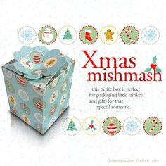 free Christmas mishmash printable gift box